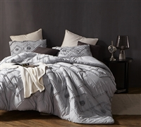 Ruffled Chevron Textured King Comforter - Oversized King XL - Glacier Gray