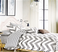 Chevron Gray Bedding Comforter Sets King - Comfortable Bed Comforters in Gray