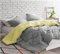 Limelight Yellow/Alloy Reversible Full Comforter  - Oversized Full XL Bedding