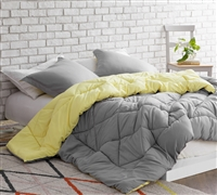 Limelight Yellow/Alloy Reversible Twin Comforter  - Oversized Twin XL Bedding