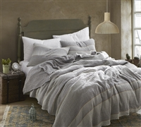 Rustica Portugal - Soft Denim Stone Washed Queen Quilt - Gray