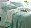 Essential Extended Full XL Bedding Stylish Hint of Mint Green Ruffled Stone Washed Extra Long Full Quilt