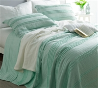 Ruffled Stone Washed Quilt - Hint of Mint - Oversized King XL
