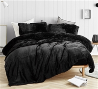 Twin XL, Queen, and King Coma Inducer Sheet Set in Black. Thick, wild plush Bedding.