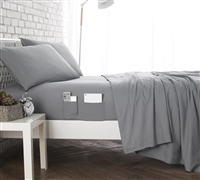 Bedside Pocket California King Sheet Set - Supersoft Gray