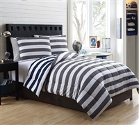7 Piece Full Comforter Sets - Cameron Rugby Stripe Bedding Sets