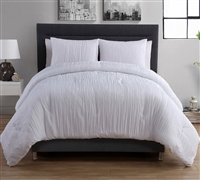 Crinkle 2PC Twin XL Duvet Set - White