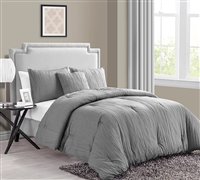Best Comforter Sets King size - Crinkle 4PC King Comforter Set - Grey