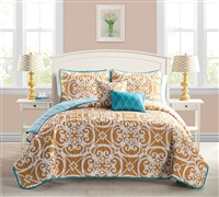 King Size Kennedy Orange Bedding Sets - 5 Piece Quilt Set King Size Bedding Comforter