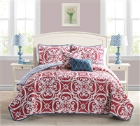 5 Piece Quilt Set King Bedding Sets - Kennedy Red Quilt Sets in King Size