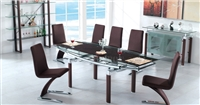 Modern Brown Dining Table with Extendable Glass Top and Six Chairs