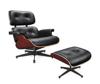 Divani Casa Moser Collection Modern Full Leather Lounge Chair w/ Ottoman, Black