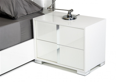 Modrest San Marino Modern White Nightstand - Right
