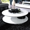 5019C Round Black and White High Gloss Lacquer Coffee Table with Swivel Top