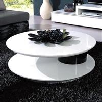 Modrest 5019C Round Black and White High Gloss Lacquer Coffee Table with Swivel Top by VIG Furniture