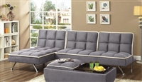 Contemporary Sofabed Modular Sectional in Grey