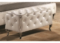 Leatherette Tufted Bench with Crystal Studs