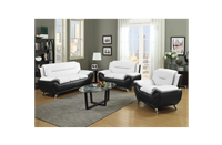 Two Tone Eco-Leather Sofa in White/Black