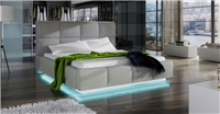 Asti Grey Eco-Leather Storage QS Bed w/LED