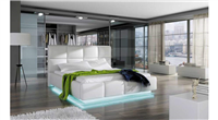 Asti White Eco-Leather Storage QS Bed w/LED