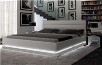 Brooklyn Grey Eco-Leather Queen Size Bed w/LED