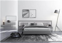 Calgary Grey Glossy King Size Bed