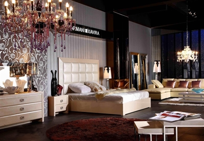 Armani Xavira A&X Casa Luxury Glam Champagne King Size Bed by VIG Furniture