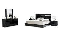 Modrest Ancona Italian Modern Black Queen Size Bed Group