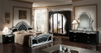 Modrest Rococo - Italian Classic Black & Silver Bedroom Set