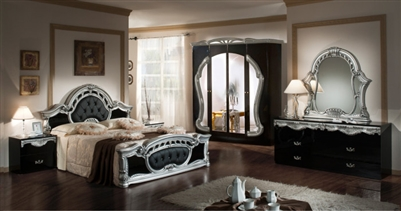 Modrest Rococo - Italian Classic Black & Silver Bedroom Set by VIG Furniture MADE IN ITALY