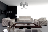 Divani Casa Lumy - Modern Tufted White Leather Sofa with Crystals by VIG Furniture