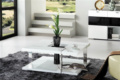 Modrest Glacier Modern White Coffee Table JM08A