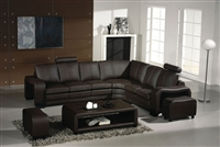 Divani Casa 3330 4 pc. Modern Espresso Leather Sectional Sofa w/2 Ottomans and Coffee Table by VIG Furniture