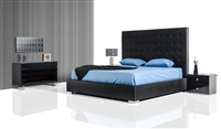 Modrest Lyrica Black Leatherette Tall Headboard Bed by VIG Furniture