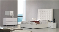 Modrest Lyrica - White Leatherette Tall Headboard Bed by VIG Furniture