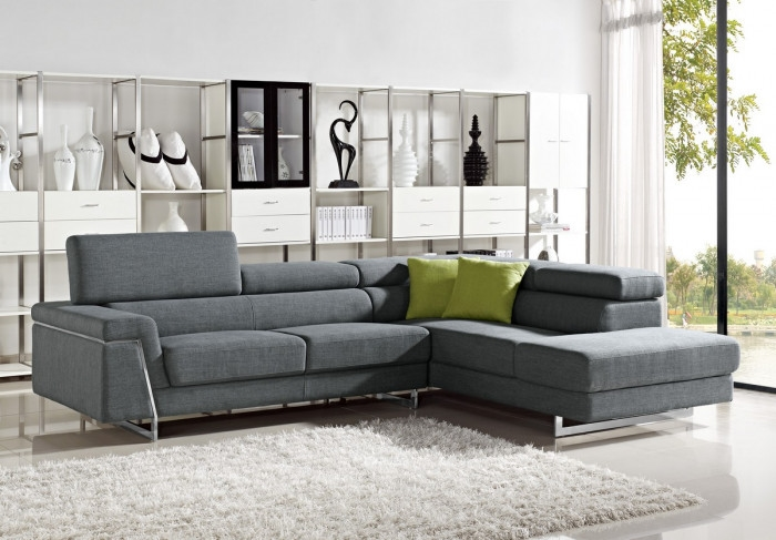Divani Casa Darby Modern Grey Fabric Sectional Sofa Set By VIG Furniture