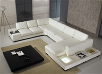 Divani Casa T35 White Leather Sectional Sofa With Lights by VIG Furniture