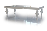 Bella White Lacquer Transitional Dining Table