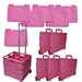 SPECIAL PRICE! Go-Cart Pink Folding Cart: 6 Large Carts WITH Lids for $150.00