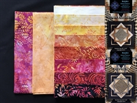Convex Illusions and Poppin' In Quilt Kit in Red,Pink,Orange,Peach,Yellow Batik Prints