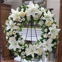 White Lily & Rose Wreath