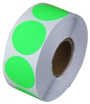 "2"" Fluorescent Light Green Circle Sticker Labels"
