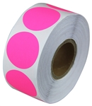 "2"" Fluorescent Pink Circle Stickers"