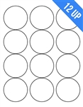 "2.5"" Circle - 12 UP - Labels on Sheets"