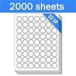 "1"" Circle - 63 UP - Labels on Sheets (1 Carton - 2000 Sheets)"