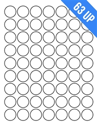"1"" Circle - 63 UP - Labels on Sheets"