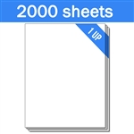 "8.5"" x 11"" - 1 UP - Labels on Sheets (1 Carton - 2000 Sheets)"