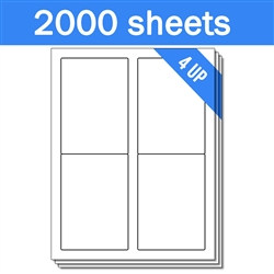 "3.5"" x 5"" - 4 UP - Labels on Sheets (1 Carton - 2000 Sheets)"