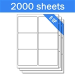 "4"" x 3.33"" - 6 UP - Labels on Sheets (1 Carton - 2000 Sheets)"