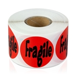 "1-1/2"" Fragile Sticker - Circle Stickers"